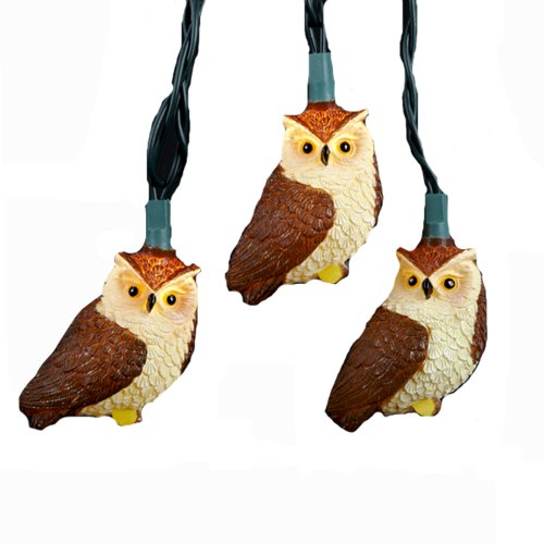 Kurt Adler 10-Light Brown Owl Light Set (Bird String Lights)