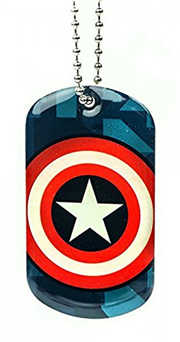 Marvel Captain America Logo Shield Dog Tag Ball Chain