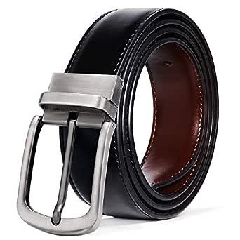 ITIEZY Cinturón de Hombre Cuero Marrón Negro, Cinturones Piel Jeans Hebilla Reversible 35 MM