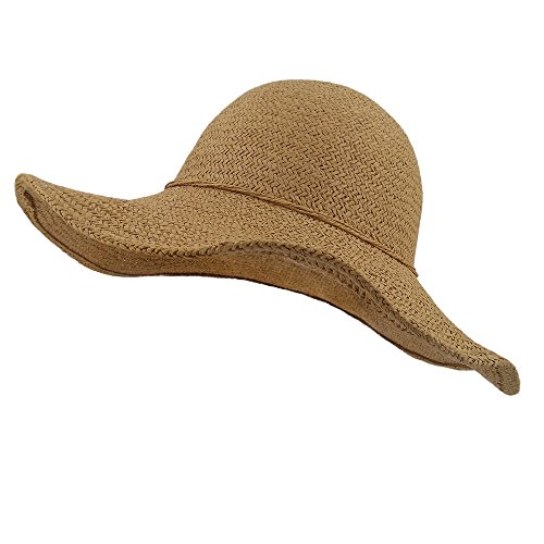 lethmik Summer Beach Straw Hat Womens Wide Brim Floppy Packable Sun Hat Khaki