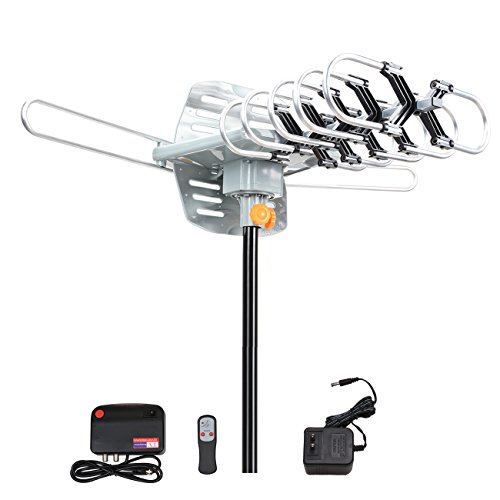 Outdoor TV Antenna, VIEWTEK Amplified HD Digital HDTV Antenna 150 Mile Range Motorized 360 Degree Rotation, Antennae for 2 TVs Support - UHF/VHF Signal Wireless Remote Control - Longer 33FT Coax Cable