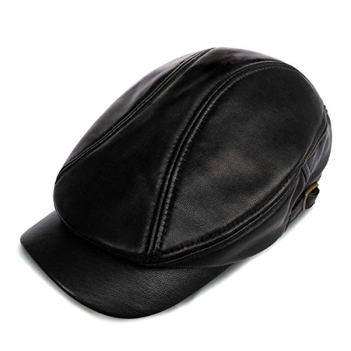 LETHMIK Genuine Leather Unique Flat Cap Adjustable Irish Ivy Newsboy (Lambskin Leather Skull Cap)