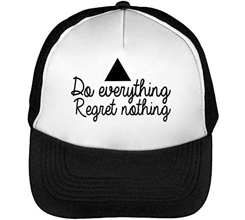 Do Everything Regret Nothing Black Fonted Gorras Hombre Snapback Beisbol Negro Blanco