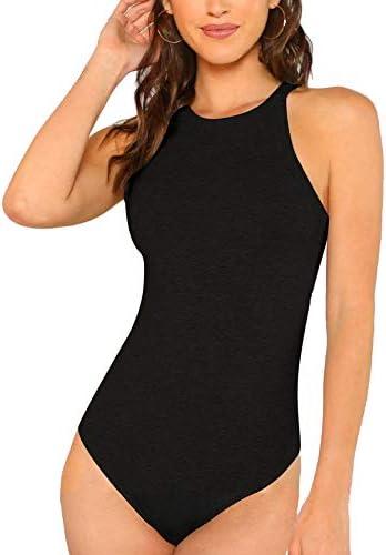 Milumia Women Skinny Halter Bodysuit Mid Waist Solid Fitted Tank Shapewear Romper Top