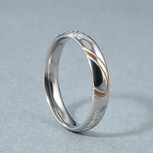 Rhame Stainless Steel Women Men Love Heart Couple Band Ring Engagement Wedding Promise | Model RNG - 9389 | 11