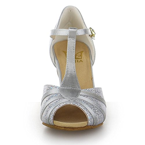 Shoes JIA Glitter 2 with Silver Satin Y20524 Sparkling Super Flared Heel Women's Sandals Latin Dance 7'' JIA Zn1Hxqfq