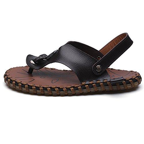 EU uomo in Nero 40 vera con Infradito Sandali antiscivolo cinturino Dimensione Infradito Pantofola pelle Bianca per Color xqTwXZ