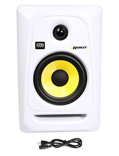 (2) KRK RP5G3W Rokit White 5'' Active Powered Studio Monitors+Stands+Foam Pads by KRK (Image #1)