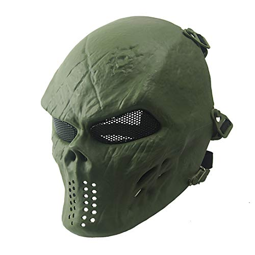 - Airsoft Mask Full Face Masks Skull Skeleton with Metal Mesh Eye Protection Army Fans Supplies M06 Tactical Mask for Halloween BB Paintball Gun Patriots CS Game Cosplay Party (Green)