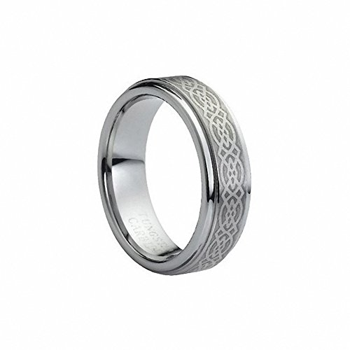 6mm Men's or Ladies Tungsten Carbide Ring Wedding Band with Laser Engraved Celtic Knot Design - , Size 8.5 6mm Ladies Wedding Band