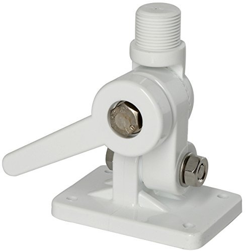 VHF and AM-FM marine Mount for antennas 4 way ratchet Scout PA3. White,strong, UV protected. Marine grade SS main bolts. Mounting bolts/washers/screws/foam backing included