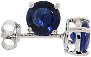 Sterling Silver Cubic Zirconia Sapphire Earrings Studs Navy Color 6 mm Platinum Coated Basket Setting 2 carat/pr