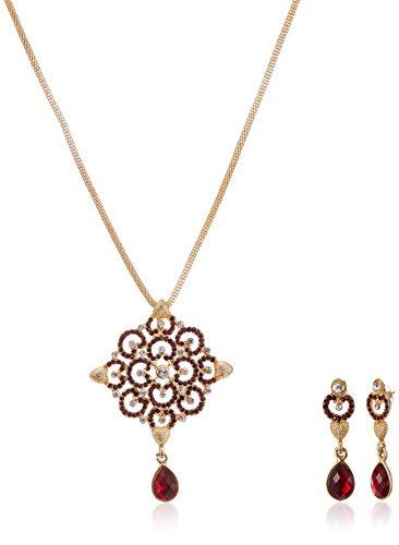 Fabby Fashion Jewellery Set for Women (Maroon and White)(94902)