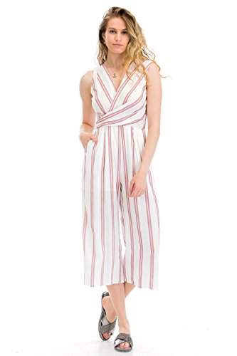 Malibu Days Wrap Waist Stripe Jumpsuit, Ivory Mauve, Small (Wrap Jumpsuit)