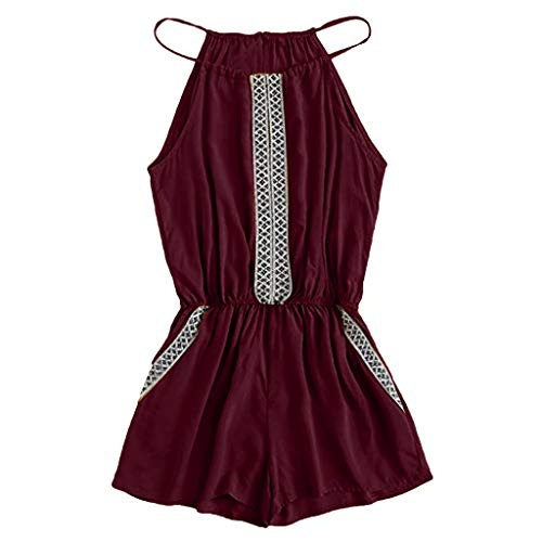 Other-sey Women's Dress Fashion Casual Embroidered Tape Detail Camis Romper with Pockets Playsuits -