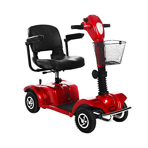 Silla de Ruedas eléctrica, Silla de Ruedas con discapacidad Avanzada para Ancianos, Silla de Ruedas portátil para atención médica, roja Operación Simpl