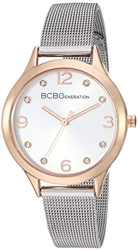 BCBGGENERATION Women's Japanese-Quartz Watch with Stainless-Steel Strap, Silver, 13.2 (Model: GN50722007)