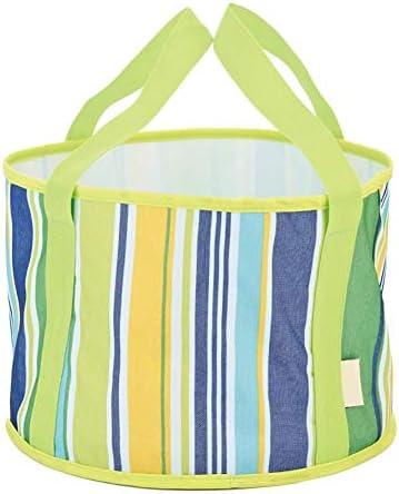 Faltbares Waschbecken, Oxford-Stoff, groß, 37 x 20 cm, grasgrüner Streifen, tragbare Gesichtswäsche, Handwäsche, Aufbewahrung, Wasser, Picknick, Angeln, faltbarer Eimer 2