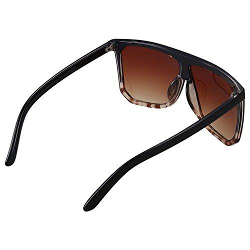Mujer los S17027 Leopard de de gran Negro Gafas Top Lop Top y vendimia de Gafas hombres de tamano SODIAL de mujeres Moda Flat las de sol la sol wxIRvpOg