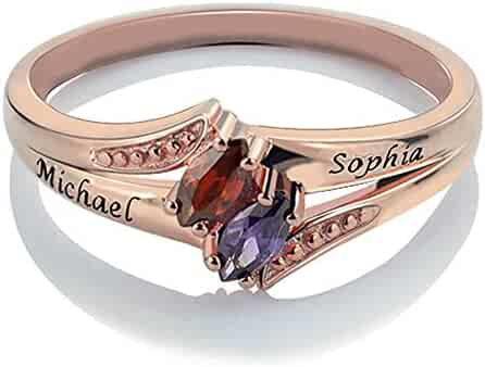 Griony 925 Sterling Silver 4 Name Mothers Ring Personalized Birthstones