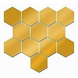 Gosear - 12 Piezas Pegatinas Decorativas de Pared de Desprendible para Bricolaje Decoración de Vida Casa Habitación,Forma de Espejo Hexagonal