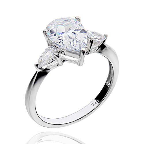 Cut Stone Pear (Sterling Silver 2Ct 3-Stone Pear Cut Cubic Zirconia Bridal Engagement Ring Sz 8)
