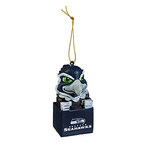 Team Sports America Seattle Seahawks NFL Tiki Totem Mascot Ornament, Set of 2