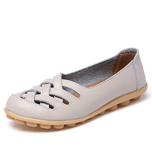 CIOR Damen Echtes Leder Loafers Casual Mokassin Fahr Schuhe Indoor Flache Slip-On Hausschuhe 4.beige