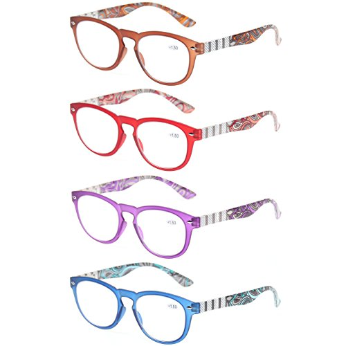 Reading Glasses 4 Pack Great Value Stylish Readers Fashion Spring Hinge Glasses for Reading (4 Pack Mix Color, 2.75) by Kerecsen