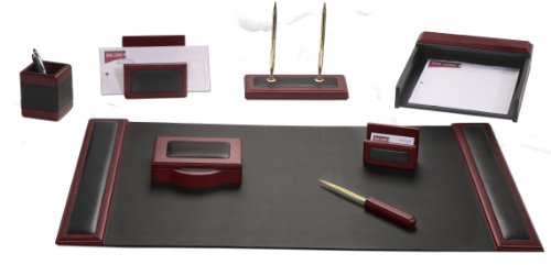 Dacasso Rosewood and Leather Desk Set, 8-Piece by Dacasso