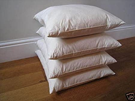 The Bettersleep Company Duck Feather Cushion Pad Filler 2 pack 16 x 16 40cm x 40cm 233tc Cambric Cover Made in UK