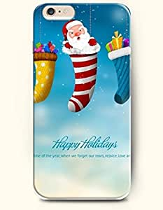 OOFIT New Apple iPhone 6 ( 4.7 Inches) Hard Case Cover - Candy Santa Claus Presents in the Stocking - Happy Holidays