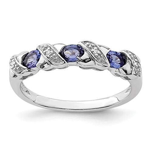 Gemstone Diamond Bands (925 Sterling Silver Blue Tanzanite Diamond Band Ring Size 8.00 Stone Gemstone Fine Jewelry For Women Gift Set)