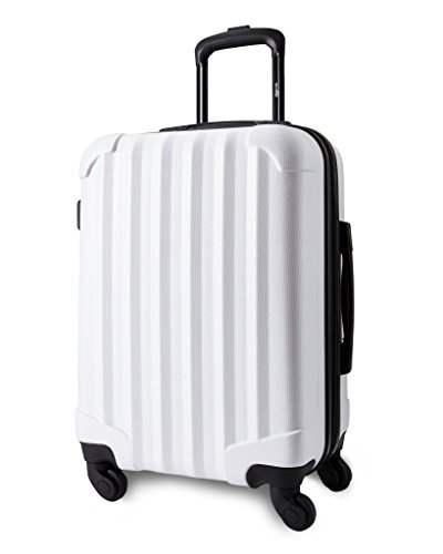 "Genius Pack 21"" Aerial Hardside Carry On Luggage Spinner - Smart, Organized, Lightweight Suitcase (Matte White)"