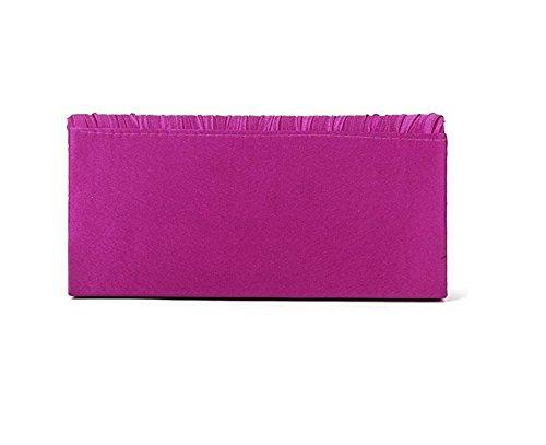 YEAH67886moda da donna da sera borsetta pochette W/Spalla catena strass raso (rosa rosso)
