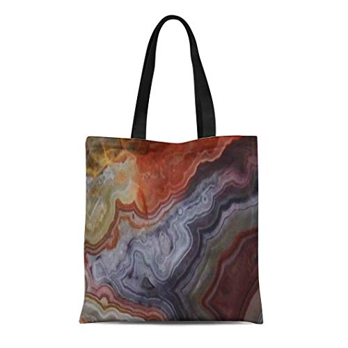(Semtomn Cotton Line Canvas Tote Bag Colorful Gemstone Agate Mexican Crazy Lace Reusable Handbag Shoulder Grocery Shopping)