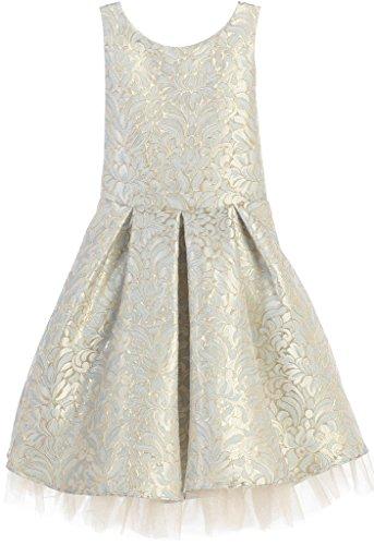 BNY Corner Flower Girl Dress Ornate Pleated Jacquard With Tulle Dress For Big Girl Blue 16 SK.670