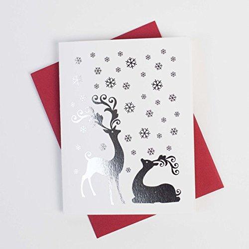 deer christmas cards 10pk set of 10 foiled christmas cards with envelopes deer - Deer Christmas Cards