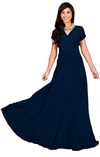 KOH KOH Petite Women Long Cap Short Sleeve V-neck Flowy Cocktail Slimming Summer Sexy Casual Formal Sun Sundress Work Cute Gown Gowns Maxi Dress Dresses, Navy Blue S 4-6 (1)