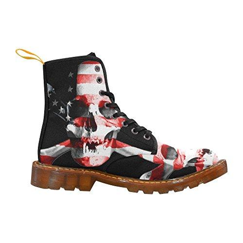 Scarpe Da D-story Jolly Roger Skull Lace Up Martin Boots Da Donna