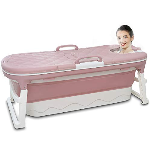 Portable Bathtub for Adults, Foldable Children Tub Household Bath Basin, Constant Temperature with Cover Pink 54inches