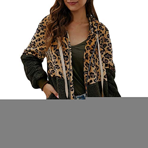 Sanyyanlsy Women's Leopard Print Patchwork Cardigan Coat Ladies Long Sleeves Zipper Keep Warm Pullover Tops Sweatshirt Army Green (Ray-ban Leopard)