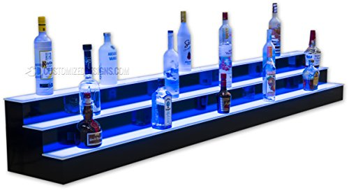 96'' 3 Tier Lighted Commercial Grade Back Bar Liquor Bottle Shelving with lights by Customized Designs