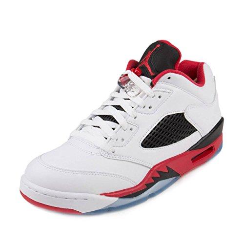 Nike Mens Air Jordan 5 Retro Low Fire Red White/Fire Red-Black Leather Size 12 (Jordan 5 Low White Fire Red Black)