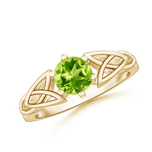 Solitaire Round Peridot Celtic Knot Ring in 14K Yellow Gold (6mm Peridot) (Knot Celtic Peridot)