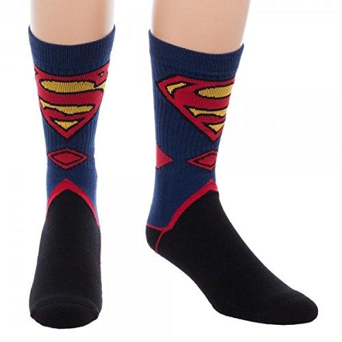Bioworld Superman Suit Up Crew Socks, Black -