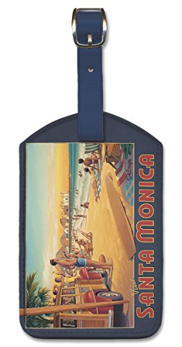 (Pacifica Island Art Leatherette Luggage Baggage Tag - Santa Monica by)