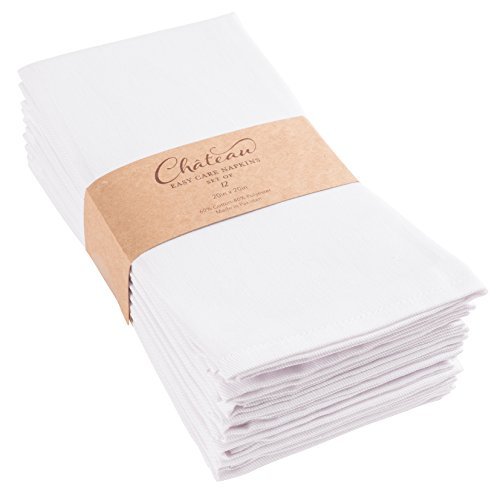 KAF Home Chateau Easy-Care Cloth Dinner Napkins - Set of 12 Oversized (20 x 20 inches) (White) (White Napkins Fabric)