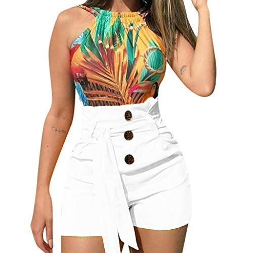 Haozin Women's Fashion Sexy Lacing High Waist Slim Fit Casual Style Belted Beach Shorts Summer Shorts Pants(XXL,White)