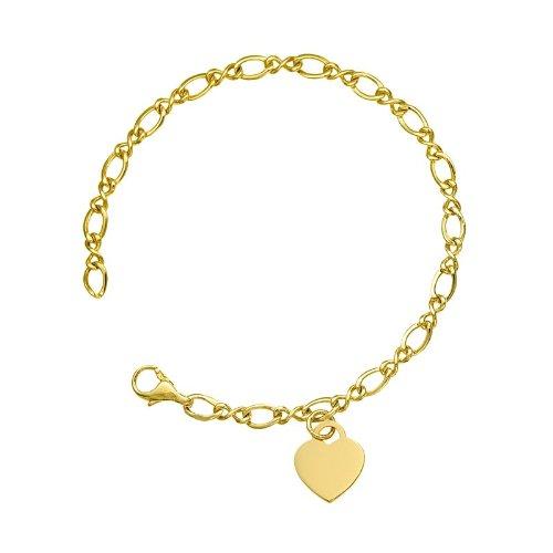 Or Jaune 14 mm 4,5 carats Fancy liens avec Cœur solide haute polonais JewelryWeb-Bracelet